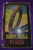 A genuine vintage double sided card sign for John Bull cycle tyres 52cm x 84cm