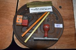 A selection of garage items including pencils metal speed plate local interest PYE motors stamp etc