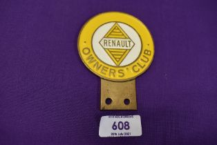 A motor car engine badge for the Renault Owners Club
