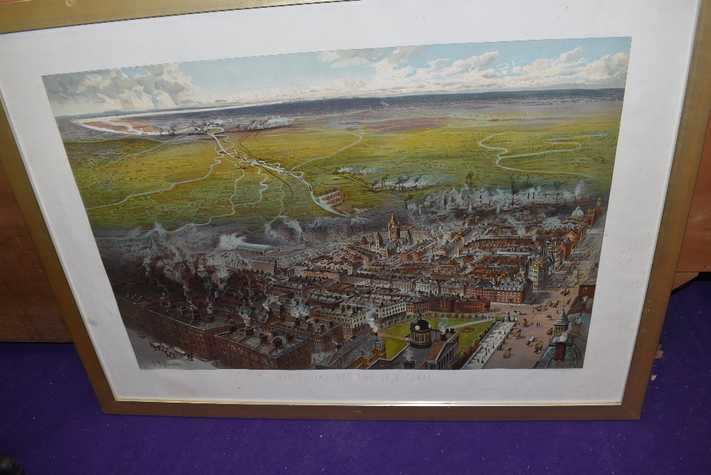A vintage full colour lithographic print advertising Manchester Ship Canal framed and glazed