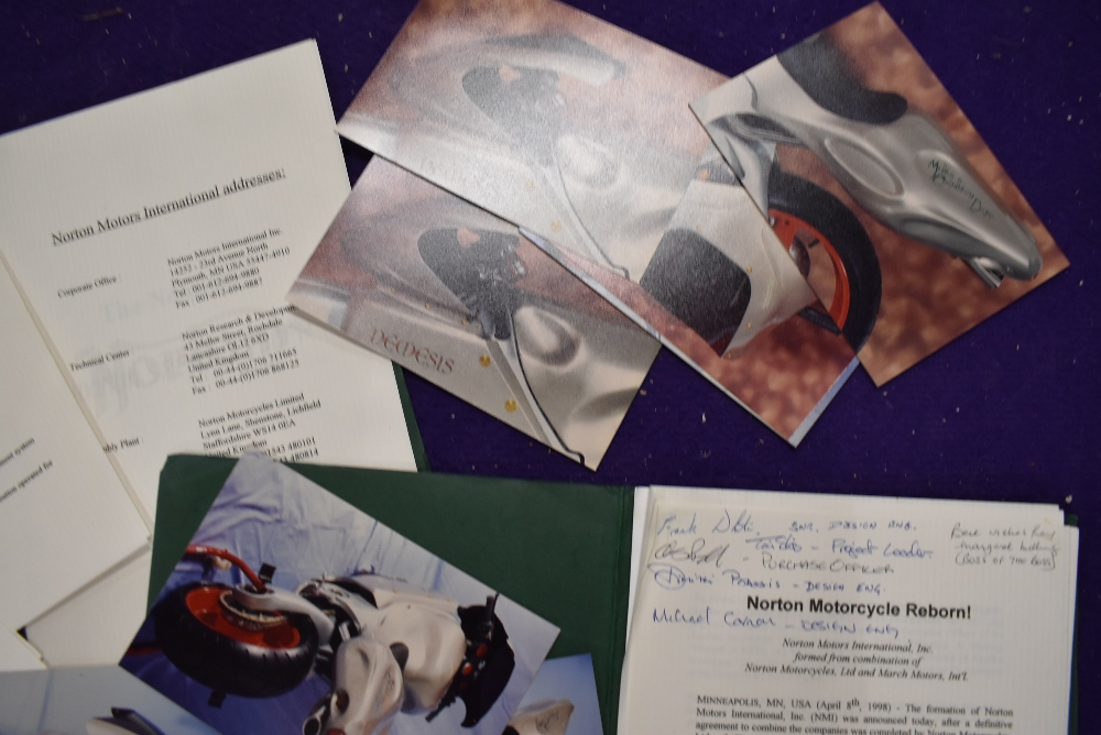 Two vintage Norton Motorcycle Press Packs one being signed by Design Engineers and Crew members - Image 2 of 2
