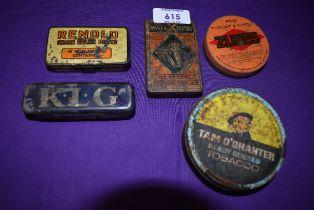 Five vintage advertising tins including Tom o'Shanter Renold and KLG