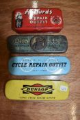 Four cycle or bicycle repair kits including Halfords and Dunlop