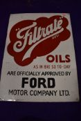 A genuine Vintage advertising sign for Filtrate Oils and Ford