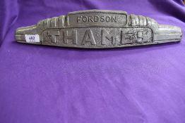 An early Fordson Thames bonnet badge.