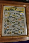 A framed Car Crests Motor Chart presented with Wizard