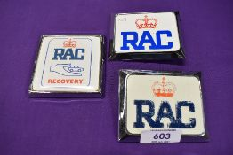 Three motor car engine badges for the RAC including Recovery