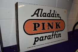 A genuine Vintage double sided enamel advertising sign for Aladdin Pink Paraffin