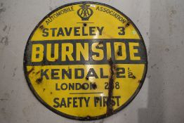 A genuine local interest enamel road sign for Staveley Burnside and Kendal by the AA
