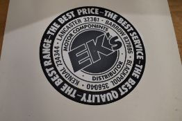 A card advertising sign for Ek's Lancaster and Kendal