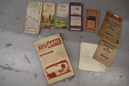 A selection of vintage road guides and maps including Esso and Autocar