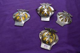 Four vintage motor car hood badges for AA