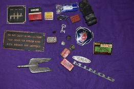 A selection of motor car engine badges and similar garage signs