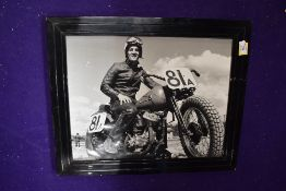 A framed and glazed photographic print of a Flat Tracker Motorcycle