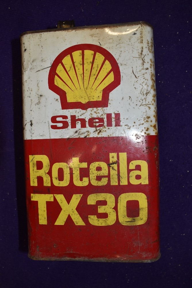 A vintage garage oil can for Shell Rotella 5litres