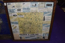 A vintage garage advertising map for Environs of Leeds