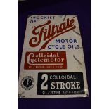 A genuine Vintage advertising sign for Filtrate Oils and Motor Cycle Oils