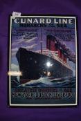 A modern replica sign for Cunard steam liner