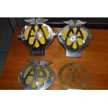 Four motor car engine badges by AA including a brass example