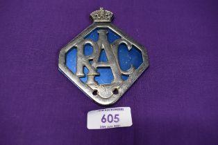 A motor car engine badge for the RAC