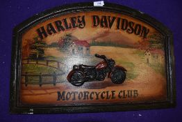 A modern wooden sign for Harley Davidson Motorcycle club