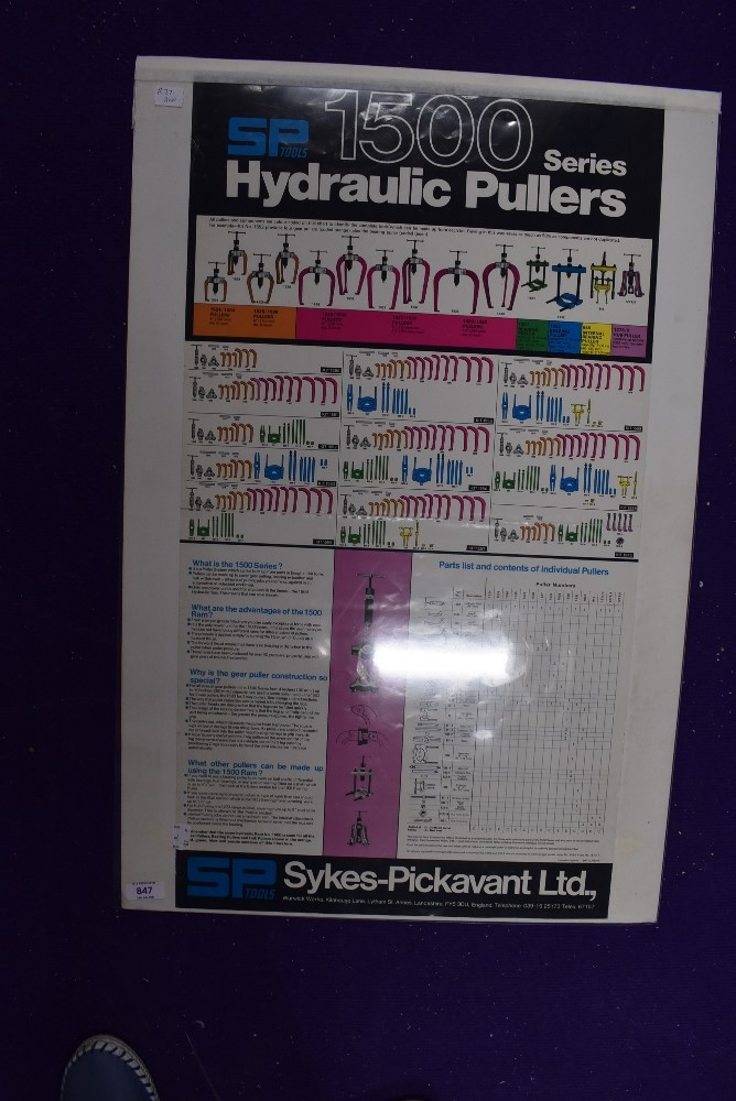 A vintage garage wall chart for Sykes Pickavant Hydraulics