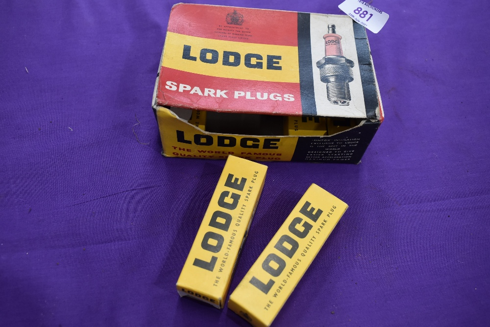 An as new box of Lodge motor car spark plugs