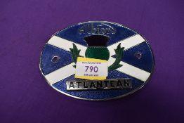 A vintage motor car engine hood badge for Albion Atlantean