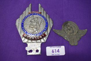 A motor car engine badge Safety Courtesy St Christopher