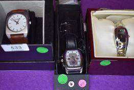 Three fashion wrist watches by Hamnett, Gianni Sabatini & Pier Carlo d'Alessio