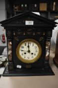 A slate 8 day mantel clock with French movement