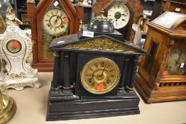 A slate effect wood bodied 8 day mantel clock A/F