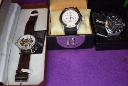 Three gent's fashion wrist watches by Shanghai Tang, Ultimate Chrono & PWC London