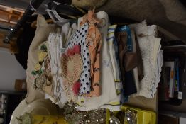 A variety of vintage and retro fabric,linen, cushion and crotchet work.