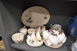 Two part tea services including Queens butterfly series and Meakin Nightclub Rose