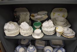 A good selection of various ceramics by Shelley including tea cups and saucers cake plates and jelly