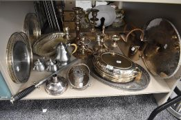 A good selection of fine silver plate and table wares including champagne holder gallery trays and