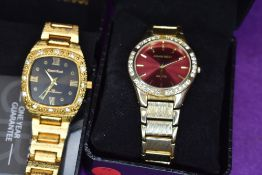 Two gent's gold plated evening wrist watches by Gianni Ricci having diamante decoration to cases