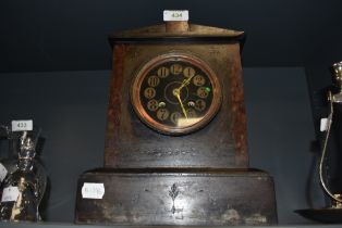 A Victorian gothic mantle clock having slate and marble case with brass and painted face by Mappin