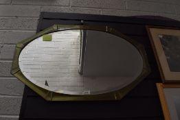 An art deco design mirror having geometric metal frame work