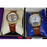 Two gent's wrist watches by Roberto Vecci on tan leather straps