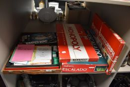 A selection of childrens toy and board games including Mah Jongg Monopoly and Escalado