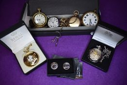 A small selection of gent's jewellery including bracelets, cufflinks and pocket watches