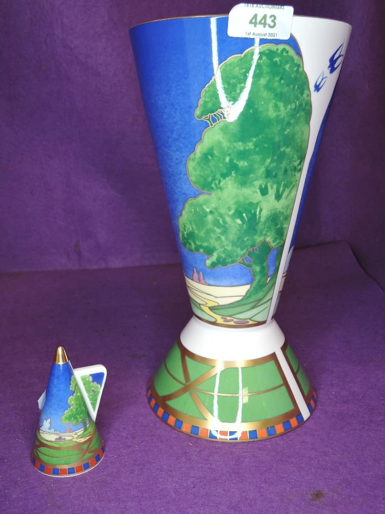 A large standing vase and candle snuffer by Royal Worcester in Lazy Days designs from the Art Deco