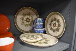 A selection of retro Langley plates,and a blue and white twin handles vase, stamped underside with