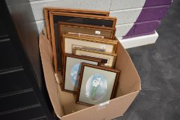A selection of picture frames and prints also two woodwork veneer pictures