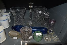 A selection of glass wares including cut candle sticks water jug and vase etc