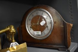 A Smiths style mantle clock having oak case with chime