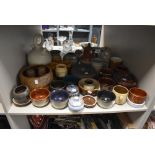 A selection of studio pottery including Wensleydale pottery and Japanese ginger jar