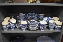 A selection of blue and white wear ceramics including plates bowls dishes and tea cups